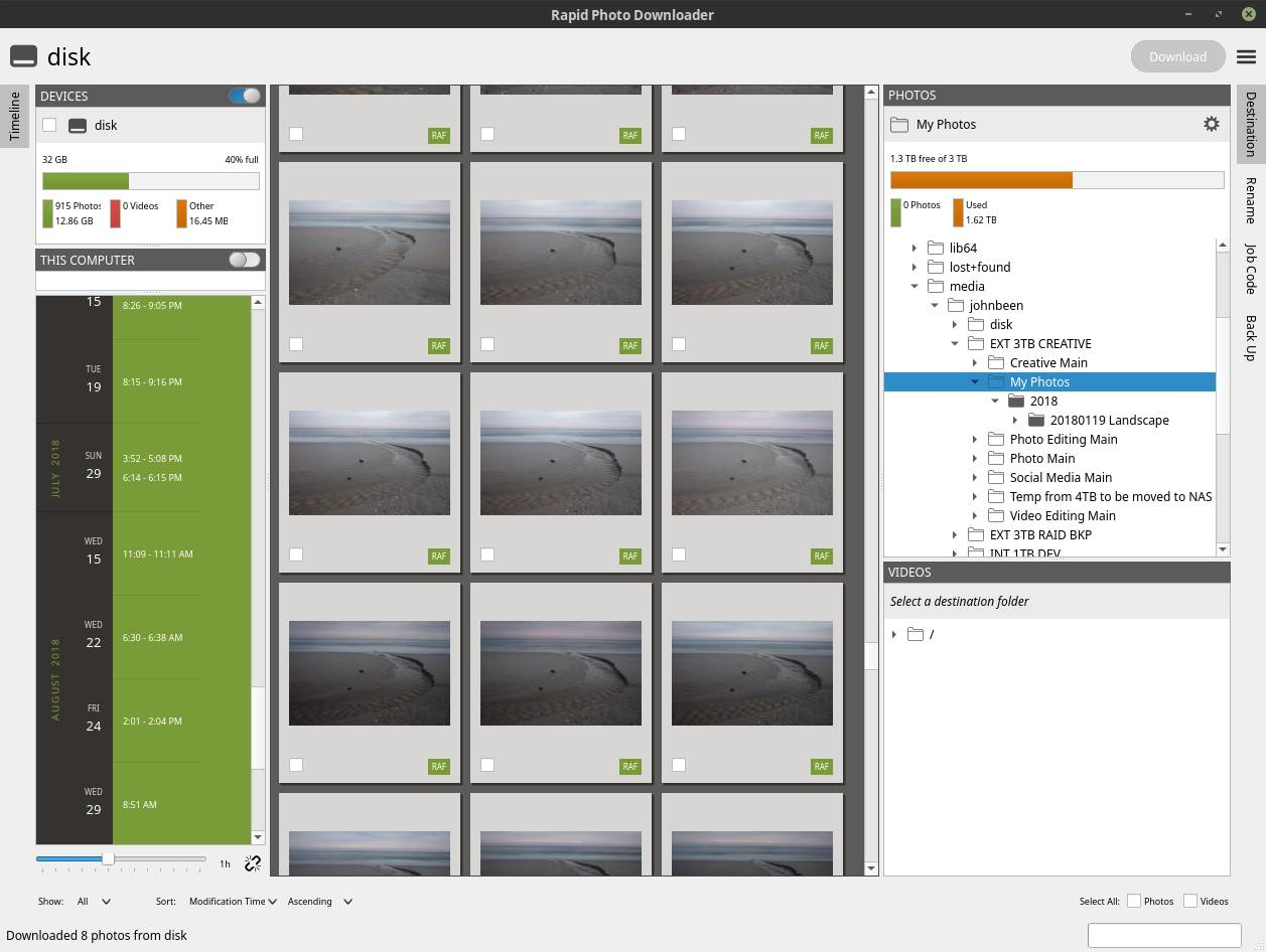 The User Interface of Rapid Photo Downloader